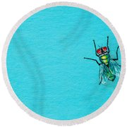 Fly On The Wall Round Beach Towel