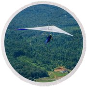 Round Beach Towel featuring the photograph Flyin High by Susan  McMenamin