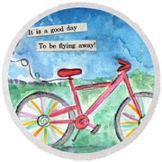 Flying Away- Bicycle And Balloon Painting Round Beach Towel