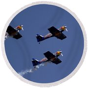 Round Beach Towel featuring the photograph Flying Bulls by Ramabhadran Thirupattur