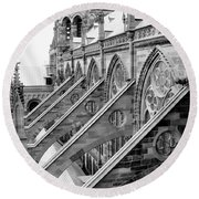 Flying Buttresses Bw Round Beach Towel