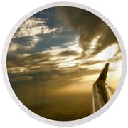 Flying Clouds By David Pucciarelli Round Beach Towel