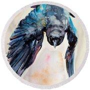 Flying Crow Round Beach Towel
