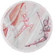 Flying Dancers  Round Beach Towel