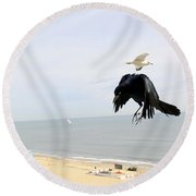 Flying Evil With Bad Intentions Round Beach Towel