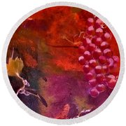 Flying Grapes Round Beach Towel