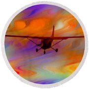 Flying Into A Rainbow Round Beach Towel
