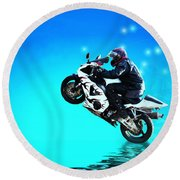Round Beach Towel featuring the photograph Flying Low One More Time On Two Wheels by Joyce Dickens
