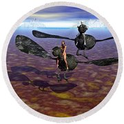 Flying Naked  Round Beach Towel