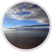 Flying Over Southern California Round Beach Towel