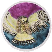 Round Beach Towel featuring the painting Flying Owl by Jeanne Fischer