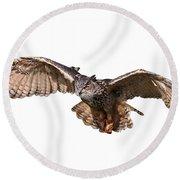 Flying Owl Round Beach Towel