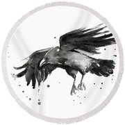 Flying Raven Watercolor Round Beach Towel