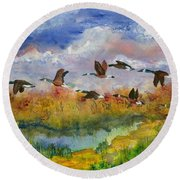 Flying South Round Beach Towel
