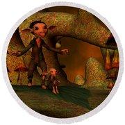 Round Beach Towel featuring the digital art Flying Through A Wonderland by Gabiw Art