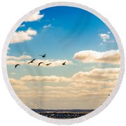 Flying To Discovery Round Beach Towel