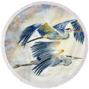 Flying Together Round Beach Towel by Melly Terpening