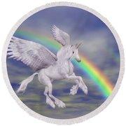 Flying Unicorn And Rainbow Round Beach Towel