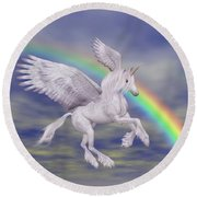 Flying Unicorn And Rainbow Round Beach Towel