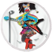 Round Beach Towel featuring the digital art Flying V Girl by Marvin Blaine