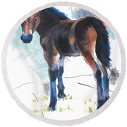 Foal Painting Round Beach Towel