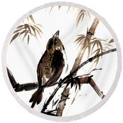 Round Beach Towel featuring the painting Focus by Bill Searle