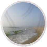 Fog And Blue Sky 2 Round Beach Towel