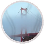 Fog And The Golden Gate Round Beach Towel by Jonathan Nguyen