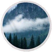 Fog Bank In Yosemite Valley, Yosemite Round Beach Towel by Panoramic Images