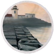 Fog Burning Off Round Beach Towel by Eileen Patten Oliver