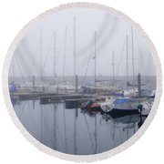 Fog In Marina I Round Beach Towel