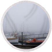 Fog In Marina IIi Round Beach Towel