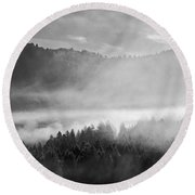 Fog In The Valley Round Beach Towel