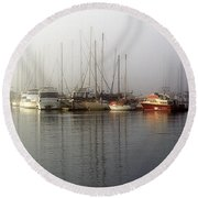 Fog Light In The Harbor Round Beach Towel