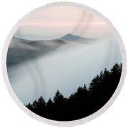 Fog On The Mountain Round Beach Towel