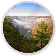 Fog Over The Canyon Round Beach Towel