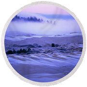Fog Over The Sand Dunes At Dawn Round Beach Towel