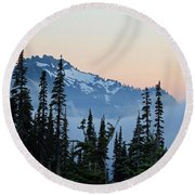 Mt. Rainier's Foggy Sunset Round Beach Towel