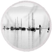 Fog Settles On Morro Bay Round Beach Towel