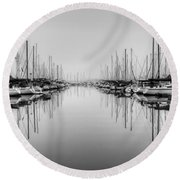 Round Beach Towel featuring the photograph Foggy Autumn Morning - Black And White by Heidi Smith