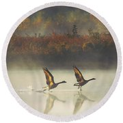 Foggy Autumn Morning Round Beach Towel by Elizabeth Winter