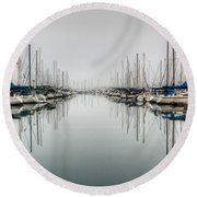 Round Beach Towel featuring the photograph Foggy Autumn Morning  by Heidi Smith