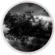 Foggy Autumn Morning On The River Round Beach Towel