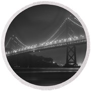 Foggy Bay Bridge Round Beach Towel