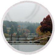 Foggy Day In October Round Beach Towel