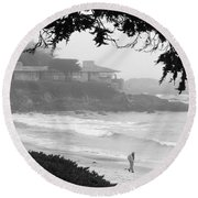 Foggy Day On Carmel Beach Round Beach Towel