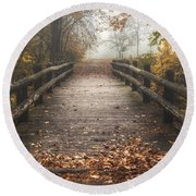 Foggy Lake Park Footbridge Round Beach Towel