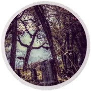Round Beach Towel featuring the photograph Foggy Memories by Melanie Lankford Photography