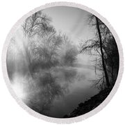 Foggy Misty Morning Sunrise On James River Round Beach Towel by Jennifer White