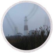 Foggy Montauk Lighthouse Round Beach Towel by Karen Silvestri